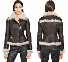 Burberry Brit Brown & Cream Newgroove Shearling Leather Jacket US 8 IT 42