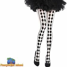 HARLEQUIN CLOWN DIAMOND TIGHTS - One Size - womens ladies fancy dress accessory