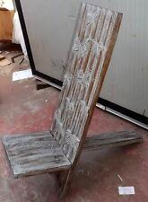 Sedia in legno di mogano tipo sdraia bianca decapata incisa a mano cm 100x34x32