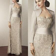 Noble Lace Mother of the Bride Long Evening Dresses With Jacket Outfits Custom