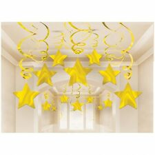 30 Gold Shooting Stars Hanging Swirl - Mega Value Christmas Party Decoration