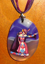 Russian Hand Painted COLOMBINE GIRL Purple STONE pendant UNIQUE signed GIFT