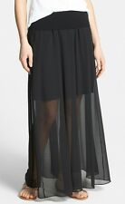 Nwt $89 Vince Camuto Chiffon Overlay Sheer Pleat Maxi Skirt ~Rich Black *M