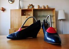 Maripé Damen Schuhe Pumps 90er Wedge 36,5 Blau uk3,5 Velour 90s True Vintage