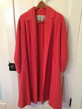 Gorgeous 1940's Krull Salmon Coral Open Front Flowing Wool Coat Silk Lining Med