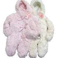 Baby Girl Luxury Fur Feel Lined Hooded Snowsuit with Satin Bows Pink or White