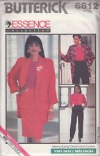 Butterick 6812 Vtg 80's Suit Blouse Sehath Skirt Trousers Oversized Jacket 6-10