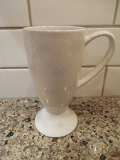 Whittard of Chelsea Tall Latte Mug Off White with Silver Snowflakes Coffee Cup