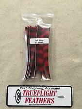 Trueflight 5 inch Feathers Left Wing Shield Dozen pack Barred Red