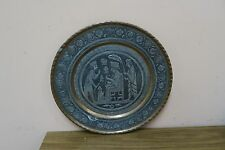 """Vintage Tinned Copper Hand Etched Shahnameh Persian Tray Ghalamzani 11.5"""" Plate"""