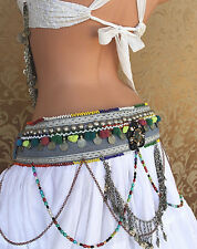 Tribal Belly Dance Belt with Drapes and Pom Poms ATS  Gothic Steampunk