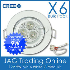 6 x KITS 12V 9W 3x3W CREE LED MR16 COOL WHITE DOWN LIGHT & GIMBAL WHITE HOUSING