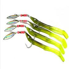 Soft Rubber Minnow Fishing Lure Long Tail Soft Rubber Spoon Spinner LuresBait A`