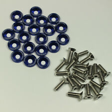 Universal 20 PCS Blue Aluminium Fender Washers/Bolt ENGINE BAY Dress-Up Kit