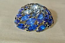 Vintage Signed Warner Domed Rhinestone Brooch Pin Shades of Blue Marquis Stones