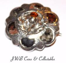 Antique Silver & Agate Scottish Brooch - Hallmarked Birmingham 1923 Joseph Cook