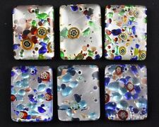 6 Murano Lampwork Glass Pendants Blue and Green