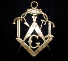 MASONIC GOLDEN-BRASS Antique CABLE TOW & EYE Rare MYSTIC PLAQUE! 1890s! SYMBOLS!