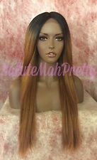 30 INCHES HUMAN HAIR BLEND OMBRÉ STRAIGHT MIDDLE PART LACE FRONT WIG