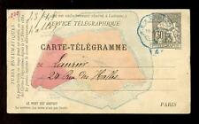 FRANCE 1882 TELEGRAPHIC CARD 30c MAP ILLUSTRATED