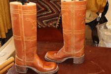 TALL VINTAGE 70s BROWN LEATHER CAMPUS RIDING BOOTS 7.5 M