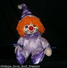 VINTAGE ALTONS PURPLE CLOWN WIND UP MUSICAL SMALL WORLD STUFFED ANIMAL PLUSH TOY