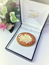 Vintage Pin Brooch Cameo Floral Amber Gold Tone Oval