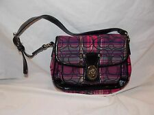 COACH POPPY TARTAN PENNY FLAP PURSE G1026-F15477 Black, Pink, Purple