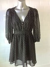 SIZE 14 BLACK SHEER CHIFFON DRESS WHITE DOTS SPOTTED GOTH WHITBY PARTY LOLITA