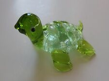 b Green GLASS FIGURINE turtle blown art glitter animal handmade ganz