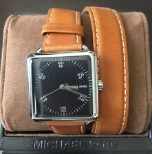 New Michael Kors Women's Black Square Double Wrap Leather Strap Watch MK2571