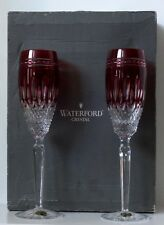 2 WATERFORD CLARENDON CRYSTAL CHAMPAGNE FLUTES RUBY RED ~ w/ original box