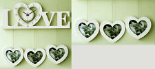 White Love heart Hanging Photo frame Wall Clock 3 photo
