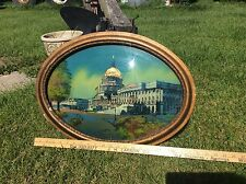 Antique Stunning Reverse Painting Portrait Of U.S. Capitol Building 1916