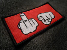 MIDDLE FINGER FU F YOU ROCKER BIKER RED JACKET IRON ON OR SEW PATCH MADE IN USA