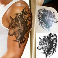 Men's Sexy Body Art Beauty Makeup Cool Wolf Head Temporary Tattoo Stickers