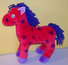 "Mary Meyer 10"" Soft Red Pony With Blue Stars Yarn Mane Plush Animal"