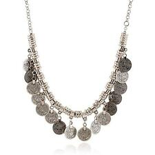Stylish Boho Coin Chunky Choker Necklace Silver Statement Necklace Jewelry Gift