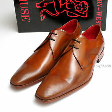 *NEW* Jeffery West Honey Brown Lace Up Jeffrey Designer Leather Sole Men Shoes 8