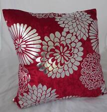 Stunning Metalic Silver Abstract Flowers Red Velvet Cushion Cover ~ 45cm