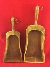 PAIR (2) VINTAGE WOODEN NESTING SCOOPS-WALL HANGING DECORATIONS-TWO SIZES-CUTE!