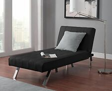 Leather Lounge Chair Tufted Modern Chaise Couch Black Contemporary Furniture Bed