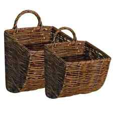 New Primitive Country Farmhouse Set of 2 WILLOW WALL BASKET Mail Holder Bin