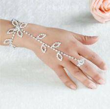 Crystal Olive Leaf Wedding Party Hand Harness Bracelet Chain Link Finger Ring