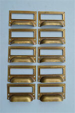 SET OF 10 BRASS FILING CABINET LABEL HANDLES FILE DRAWER HANDLE FURNITURE FD2