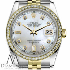 Woman's Rolex 31mm Datejust 2 Tone White MOP Mother Of Pearl 8+2 Diamond Watch