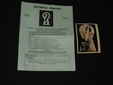 1950s PHOTO KEYHOLE PEEPING RISQUE GIRL UNDRESSING KNEE HIGH STOCKINGS LINGERIE