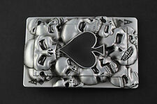 ACE OF SPADES PLAYING CARD OF SKULLS METAL BELT BUCKLE RECTANGULAR