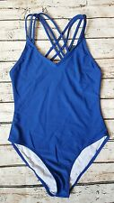 New French Connection Cross Strap Back Swimsuit sz Small in Electric Blue
