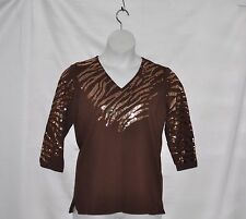 Quacker Factory Zebra Fun Sequin T-shirt Size S Chocolate